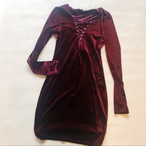 Ecote Dresses - 3 FOR $15 ECOTE Long Sleeve Velvet Lace Up Dress